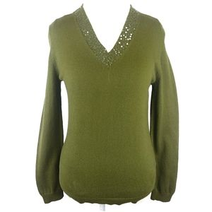 Lands End Sequin VNeck Sweater Size Small 6-8